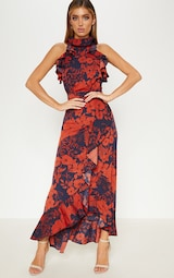 Navy Floral Print Frill Detail Wrap Maxi Dress 4