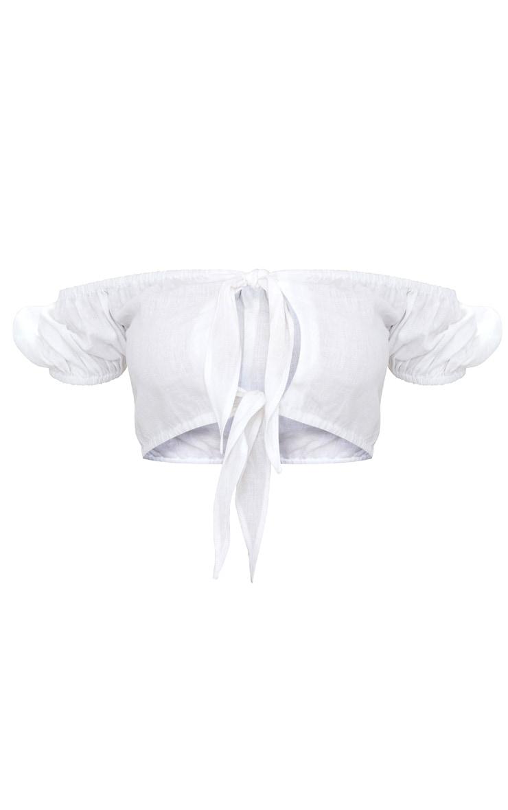 White Linen Feel Tie Front Crop Top  2