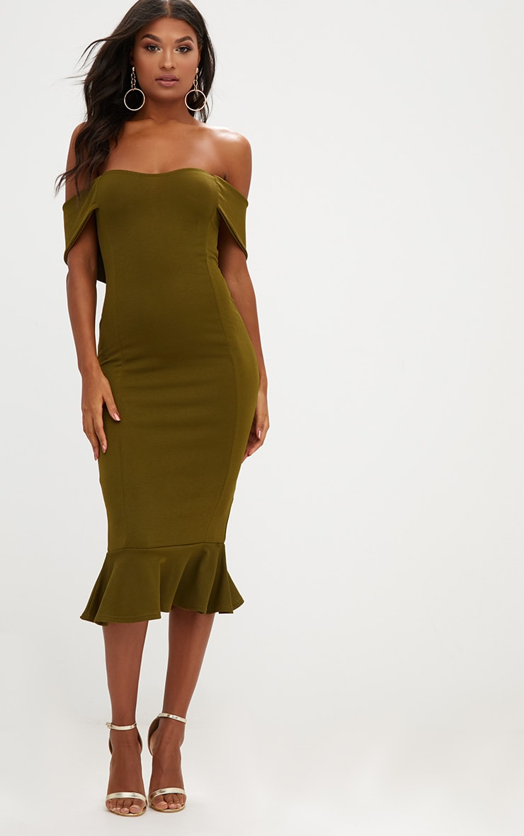 Olive Green Bardot Frill Hem Midi Dress 1