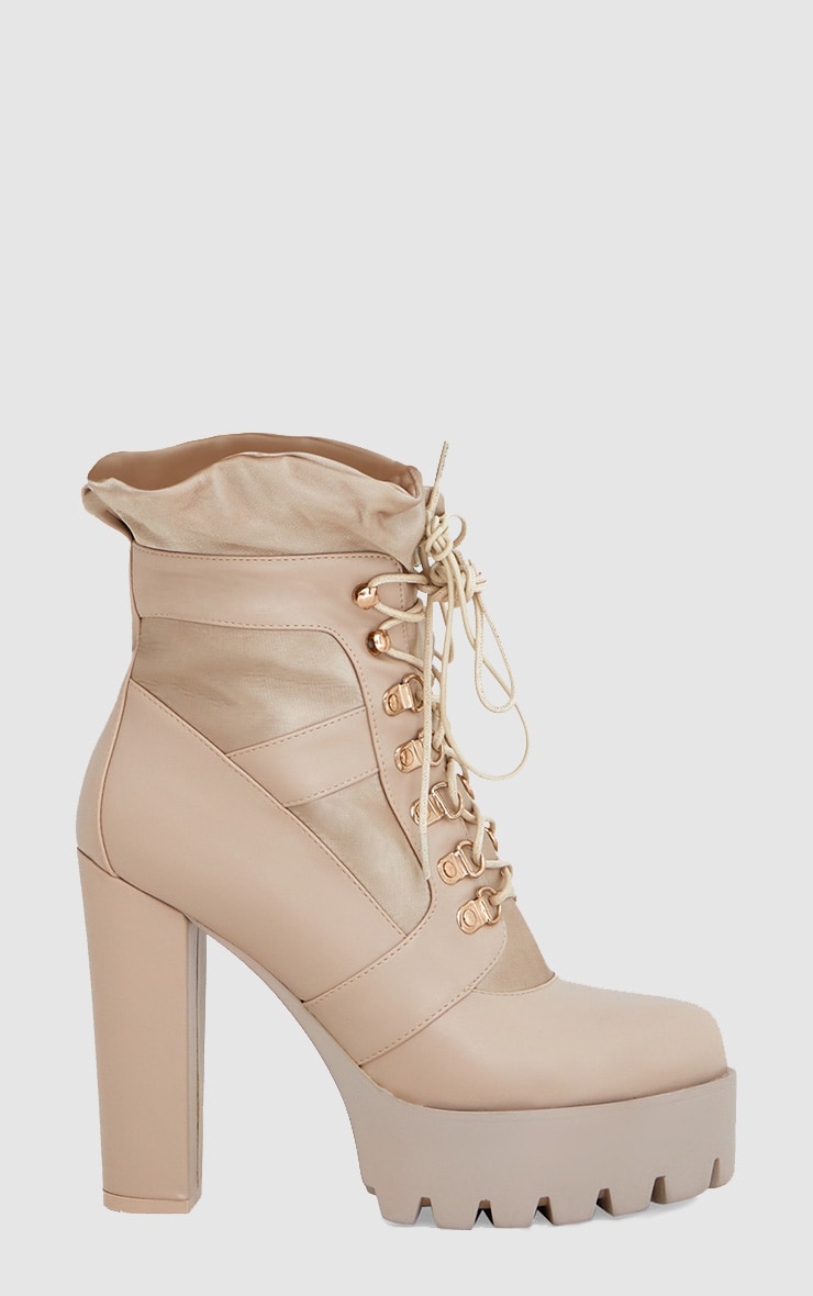 Beige Ruched Lace Up Platform Ankle Boots 3