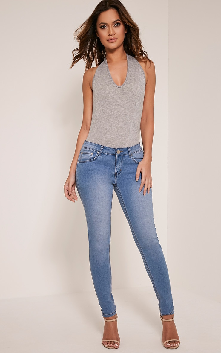 Basic Grey Halterneck Bodysuit 4