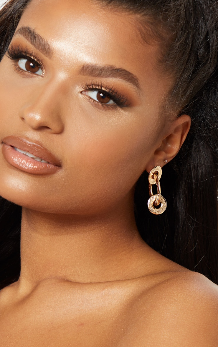 Gold Hammered Triple Ring Drop Earrings 1
