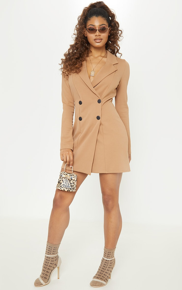Tall Brown Mini Double Breasted Blazer Dress 4