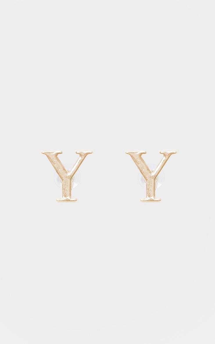 Boucles d'oreilles dorées à clou lettre Y 2