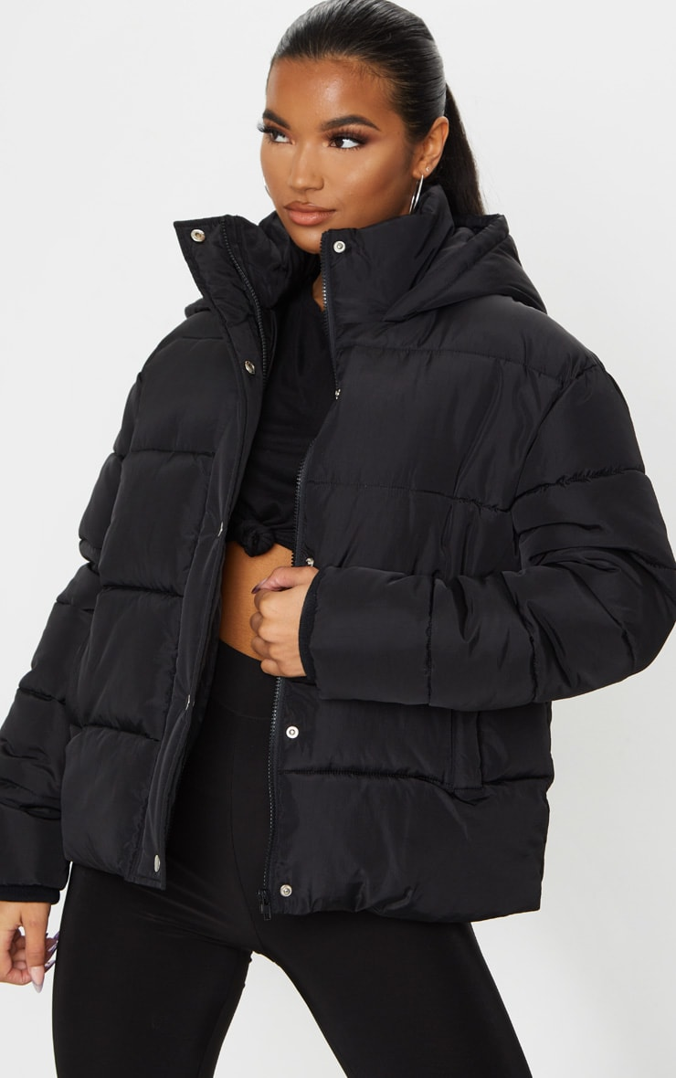 Black Hooded Puffer Jacket 1