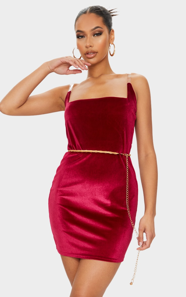 Burgundy Velvet Square Neck Clear Strap Bodycon Dress 1