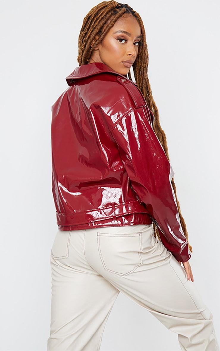 Burgundy Vinyl Zip Up Belted Jacket 2