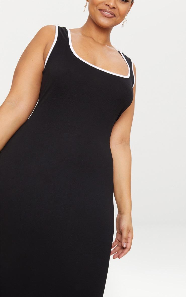 Plus Black Contrast Square Neck Midi Dress 5