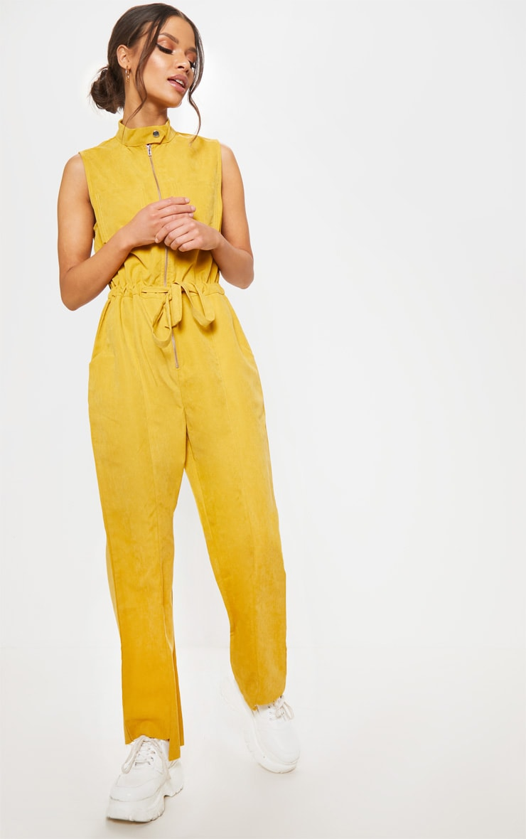 Mustard Faux Suede High Neck Zip Detail Jumpsuit 4