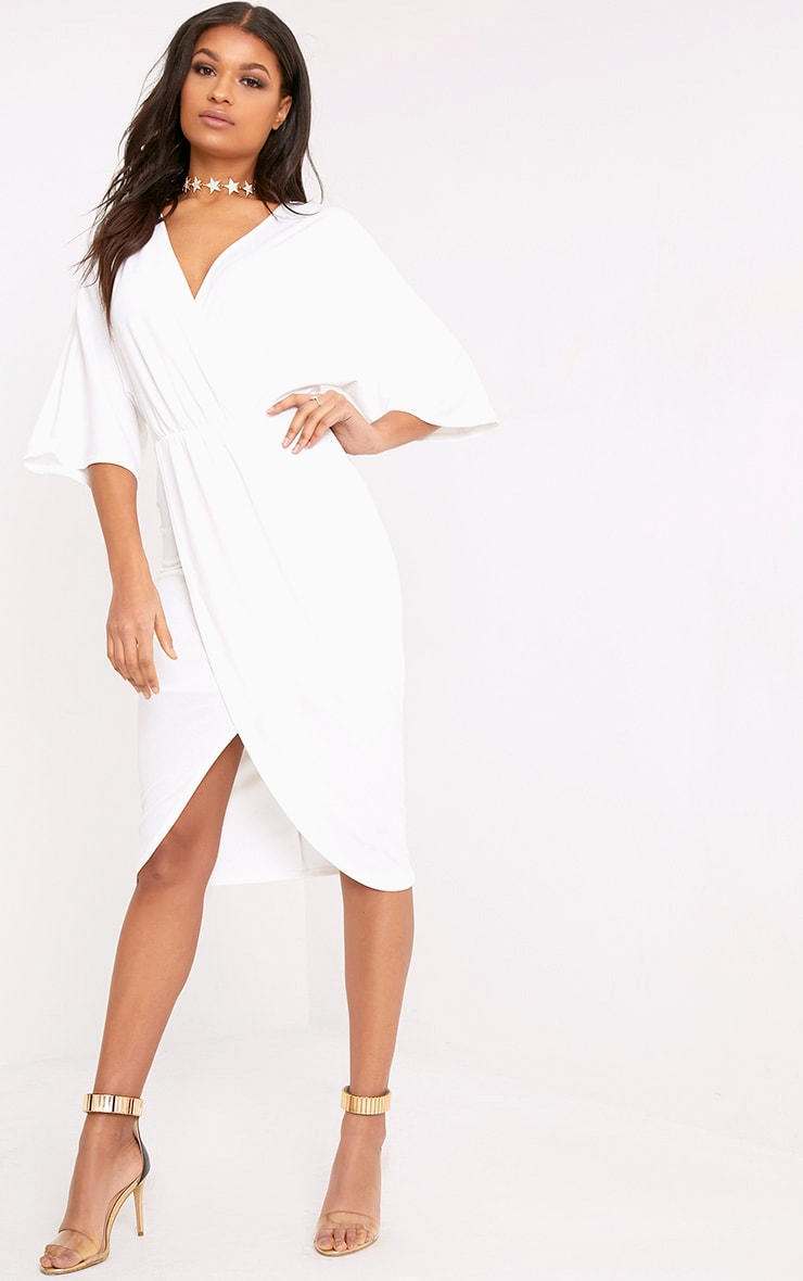 Cream Cape Midi Dress 1