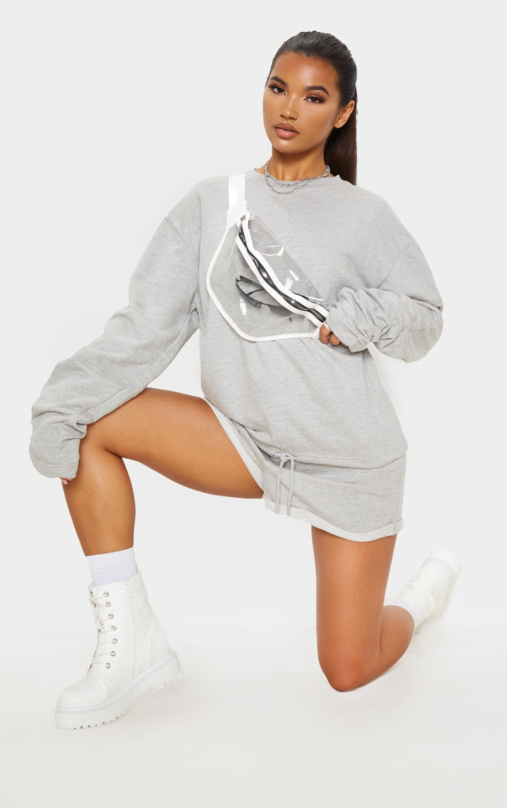 Grey Ruched Sleeve Oversized Sweater 4