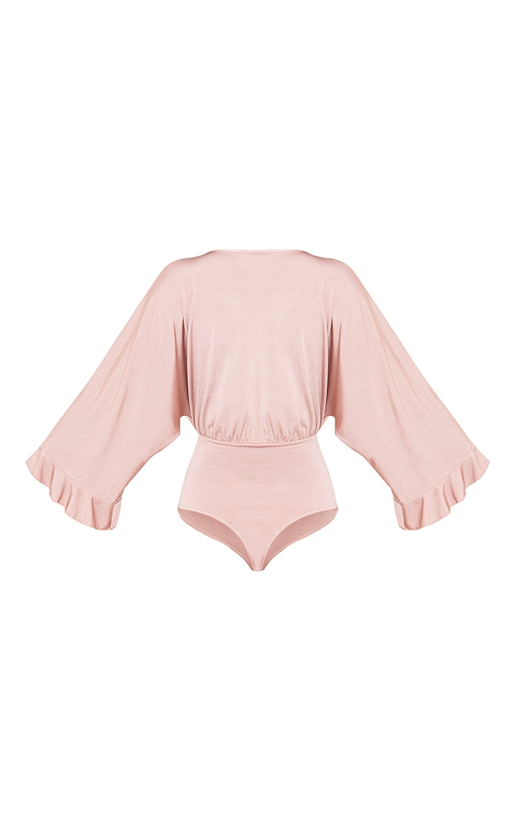 Taelyn Dusty Pink Slinky Shimmer Plunge Wide Sleeve Thong Bodysuit 4