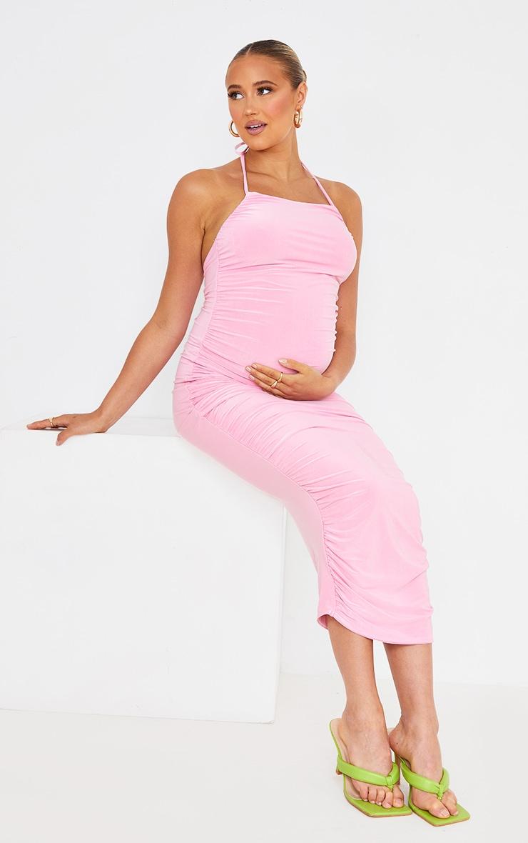 Maternity Pink Slinky Halterneck Midi Dress 1