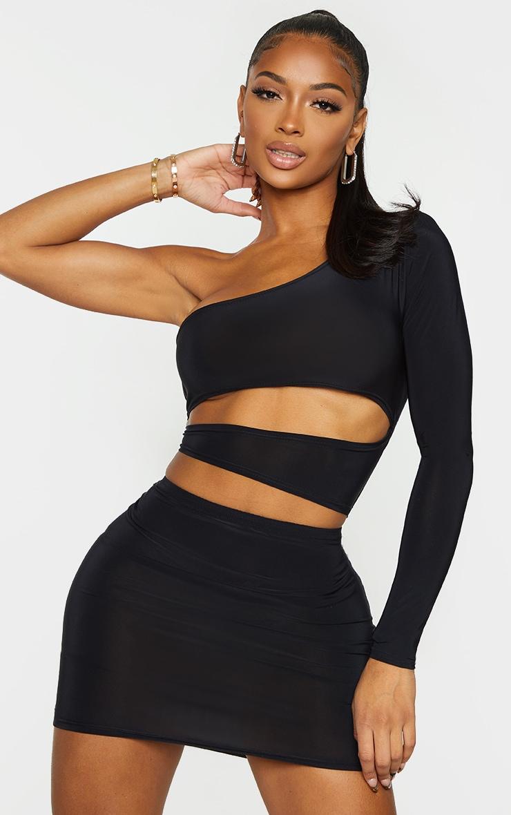 Shape Black Slinky Cut Out Side One Sleeve Bodycon Dress 1