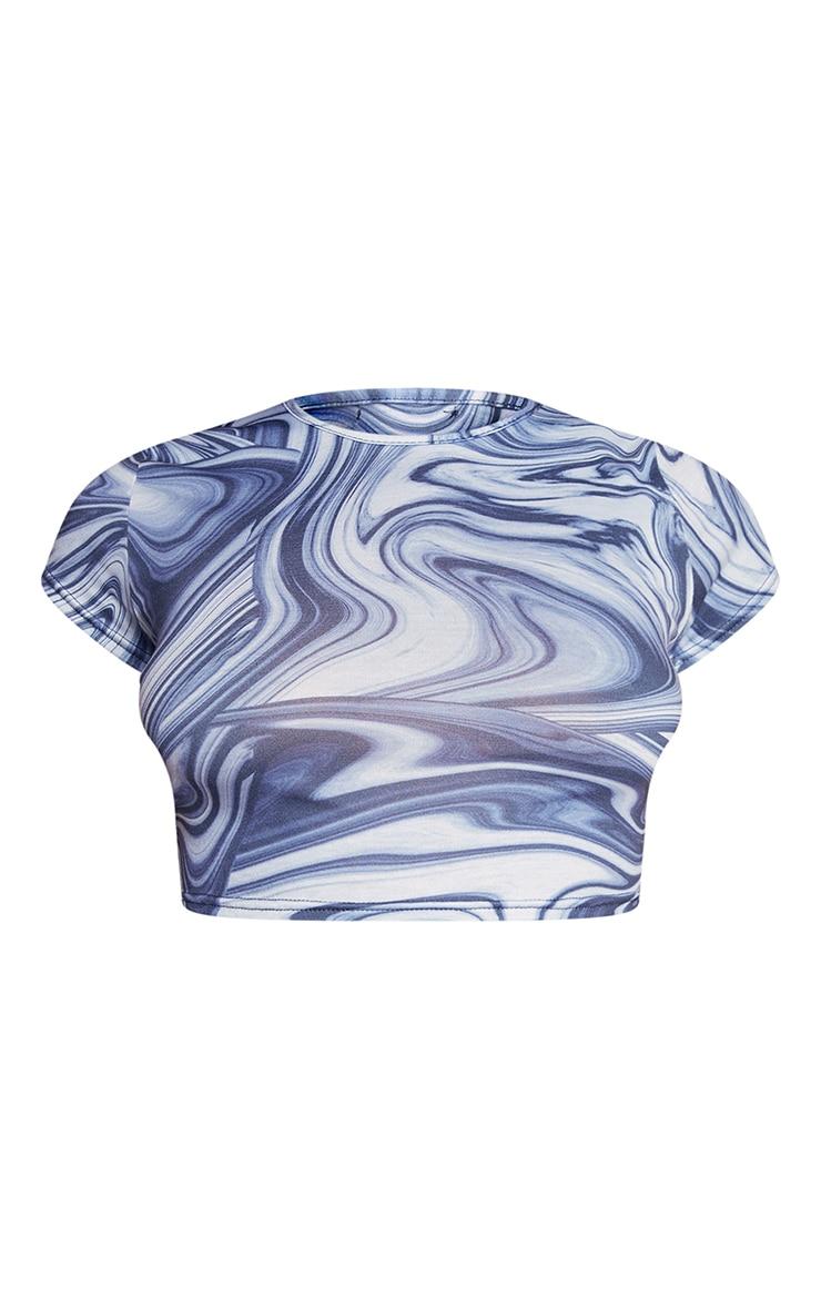 Blue Swirl Print Basic Short Sleeve Crop T Shirt 5