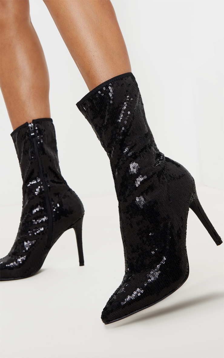 Black Sequin Point Toe Ankle Boot 2