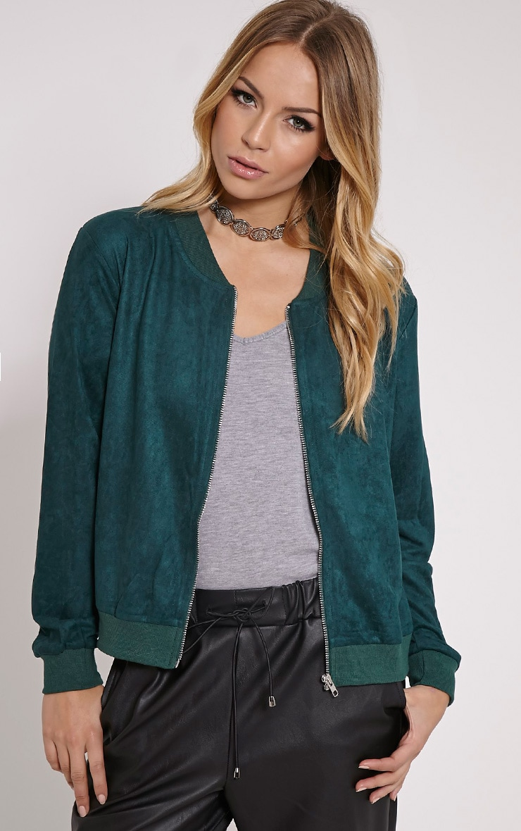 Riva Bottle Green Faux Suede Bomber Jacket 1