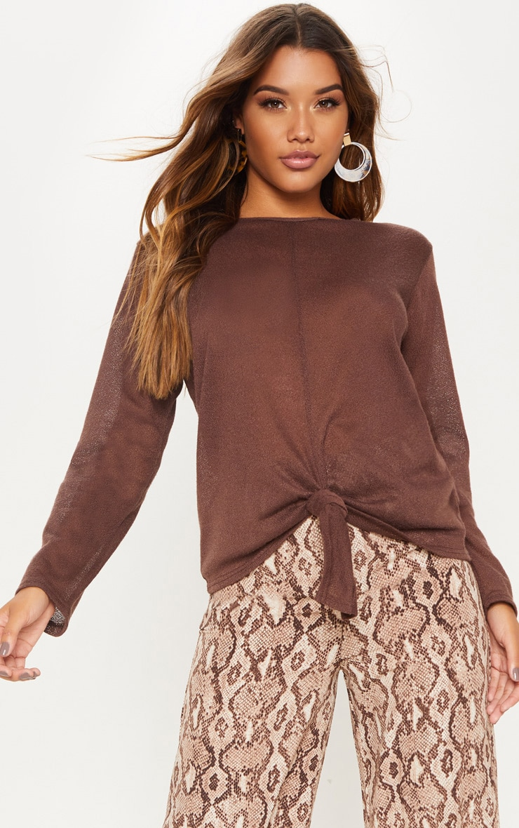 Chocolate Lightweight Knit Tie Front Top