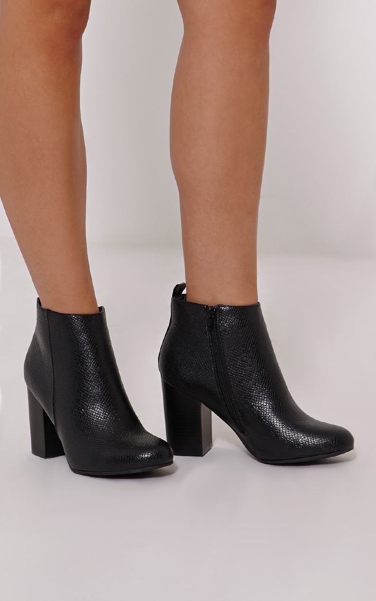 Suri Black Faux Leather Snake Heeled Ankle Boots 1