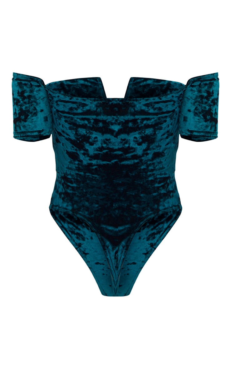 Teal Crushed Velvet V Plunge Bardot Thong Bodysuit  4