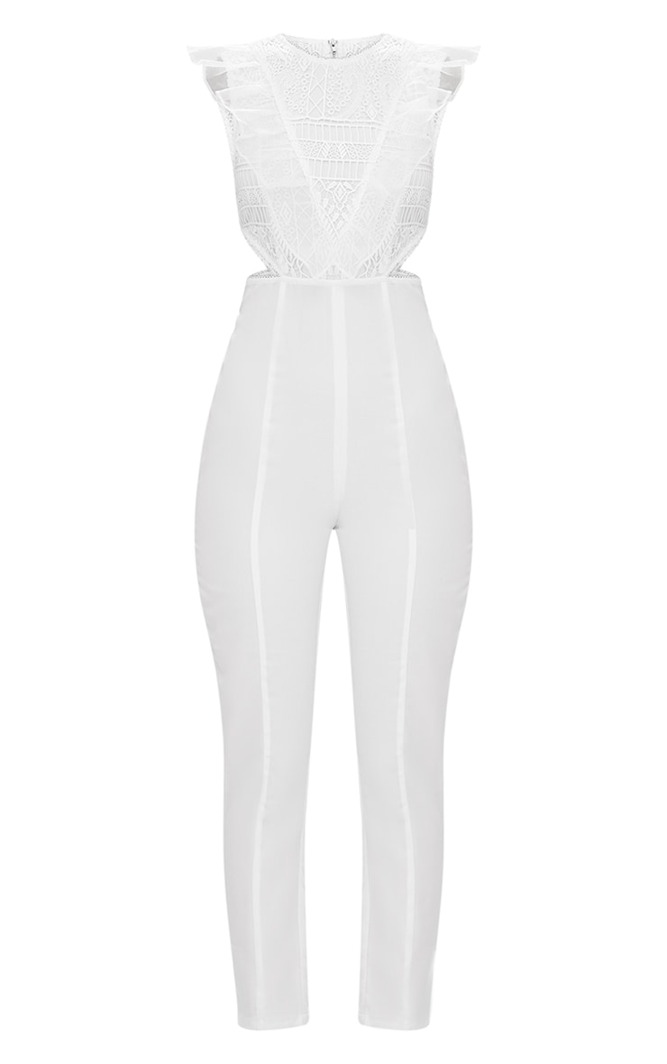 White Mesh Shoulder Cut Out Detail Jumpsuit 3