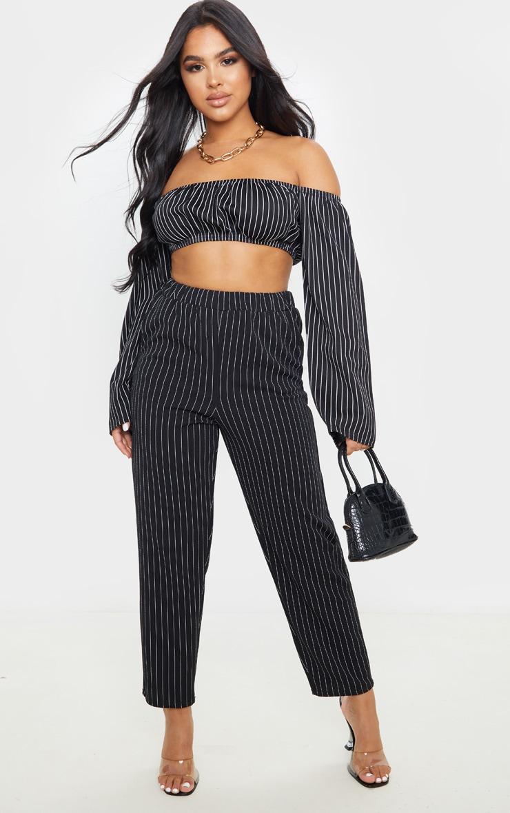 Petite Black Crop Pinstripe Long Sleeve Top 4