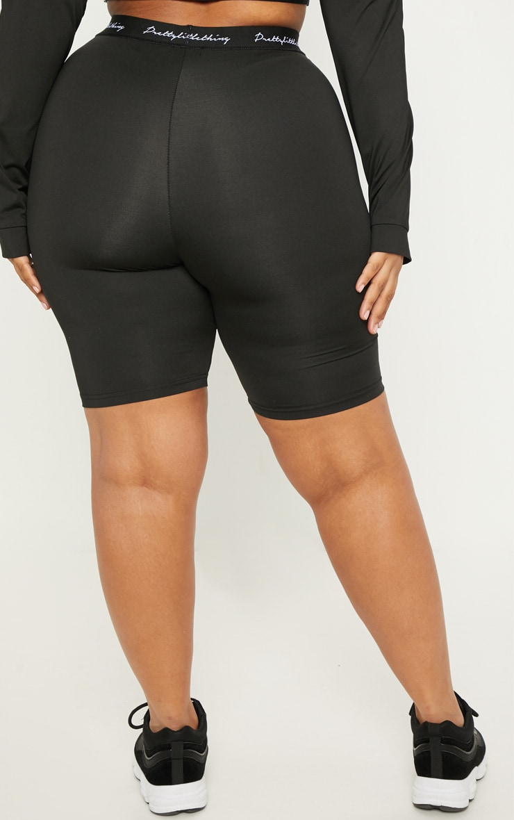 PRETTYLITTLETHING Plus Black Band Cycle Short 4