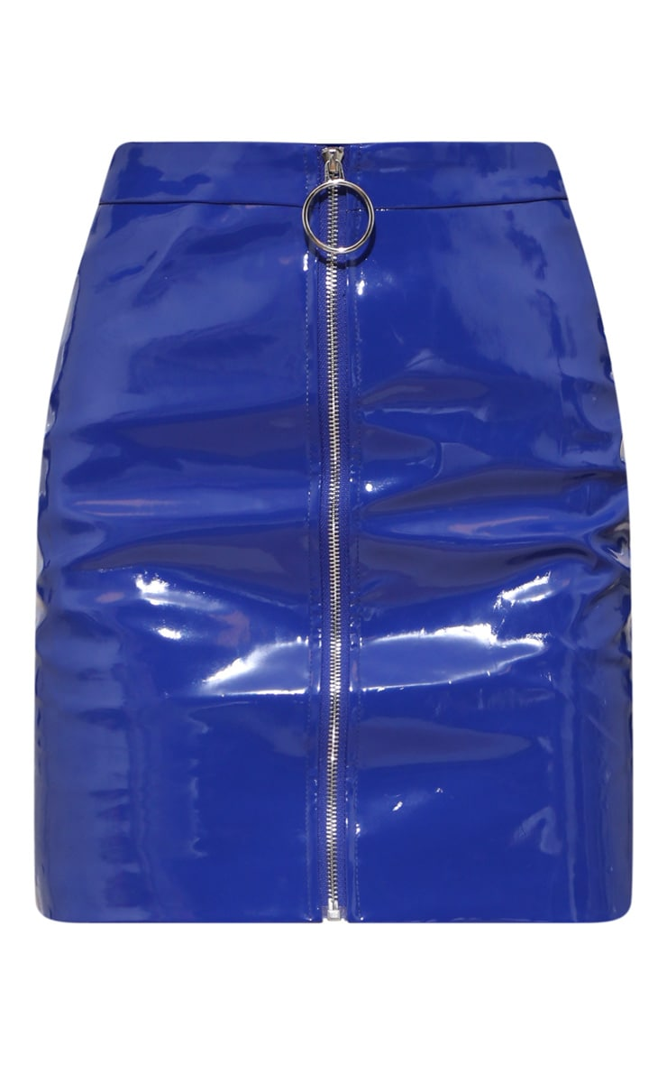 Cobalt Vinyl Zip Front Mini Skirt 4