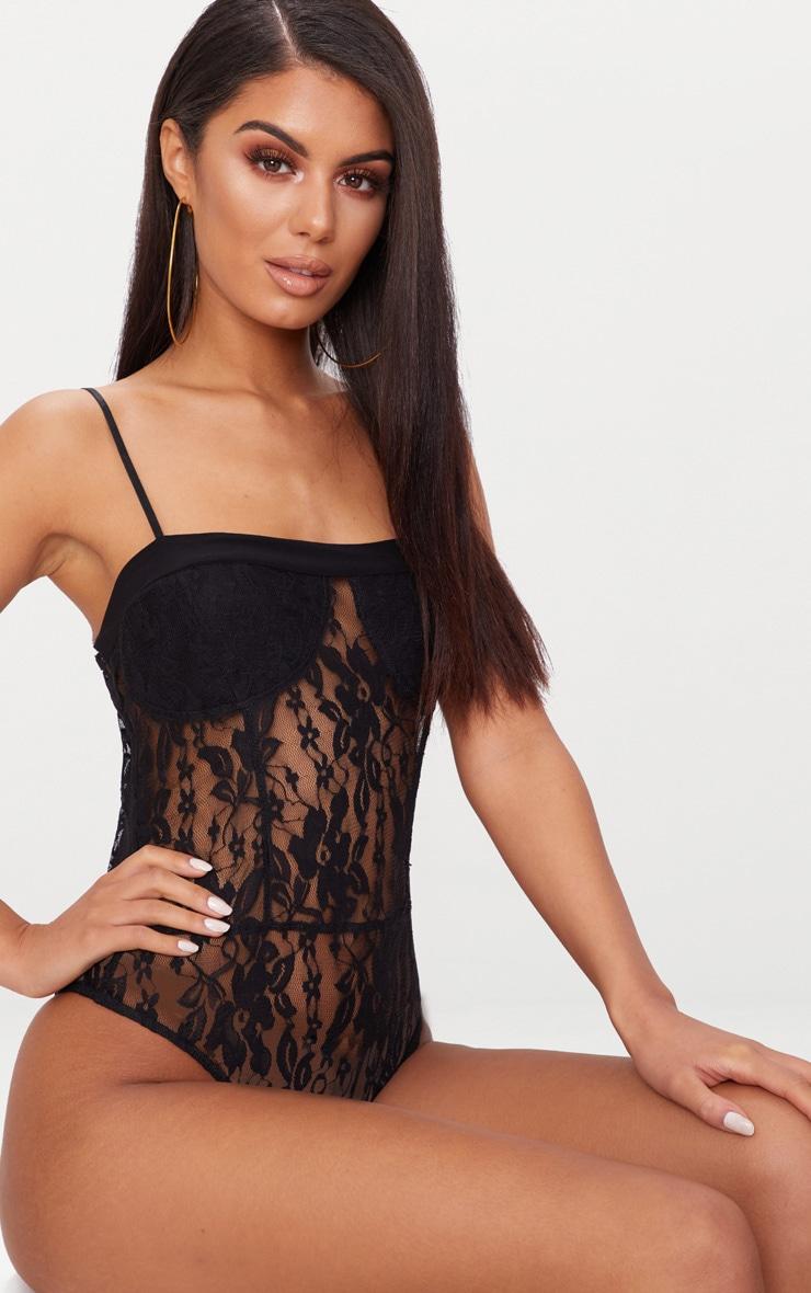 Black Lace Square Neck Thong Bodysuit  2