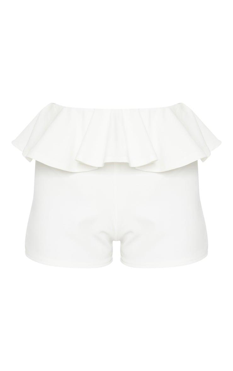 Cream Scuba Crepe Frill Waist Detail Short 3
