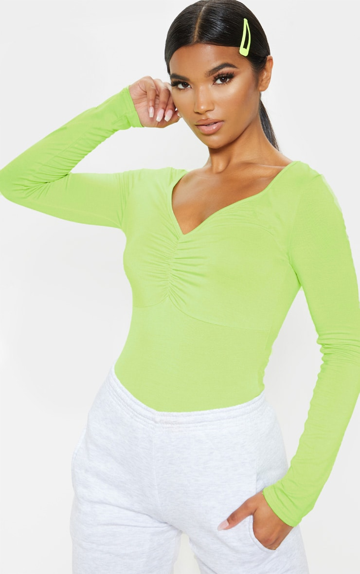 Lime Jersey Ruched Long Sleeve Bodysuit 1