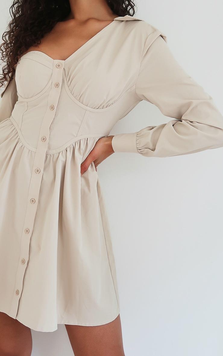 Stone Off The Shoulder Corset Detail Shift Shirt Dress 4