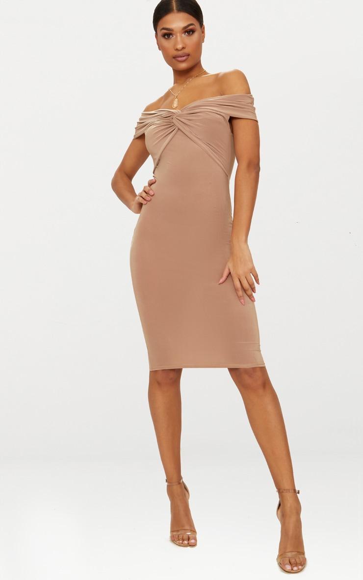 Dark Mauve Bardot Twist Detail Midi Dress