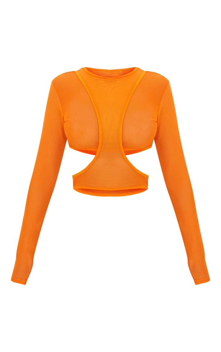 Orange Mesh Long Sleeve Cut Out Crop Top  3