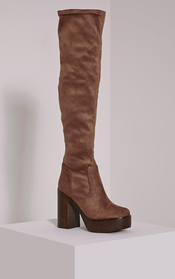 Denney Mocha Faux Suede Platform Over The Knee Boots 3