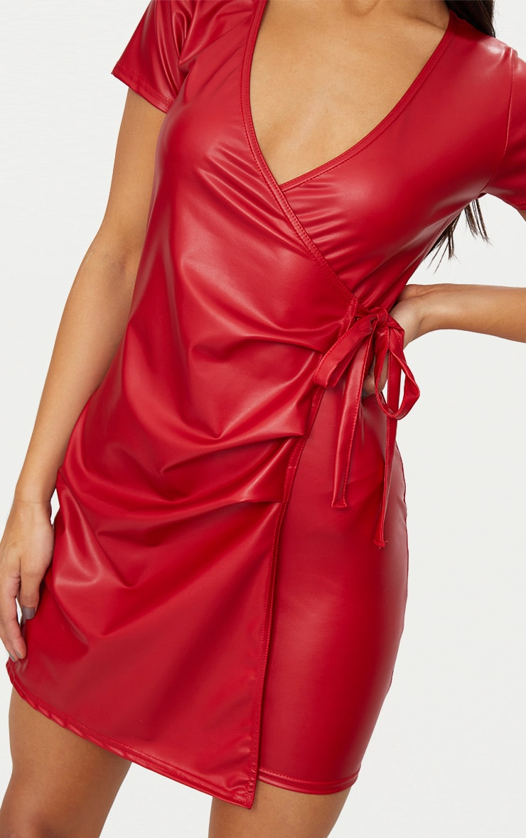 Red Short Sleeve Wrap Over PU Bodycon Dress 5
