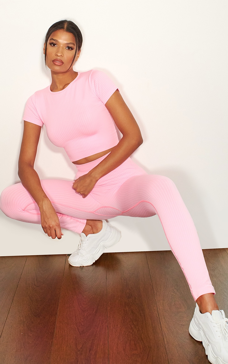 Pink Premium Ribbed Seamless Crop Top 3
