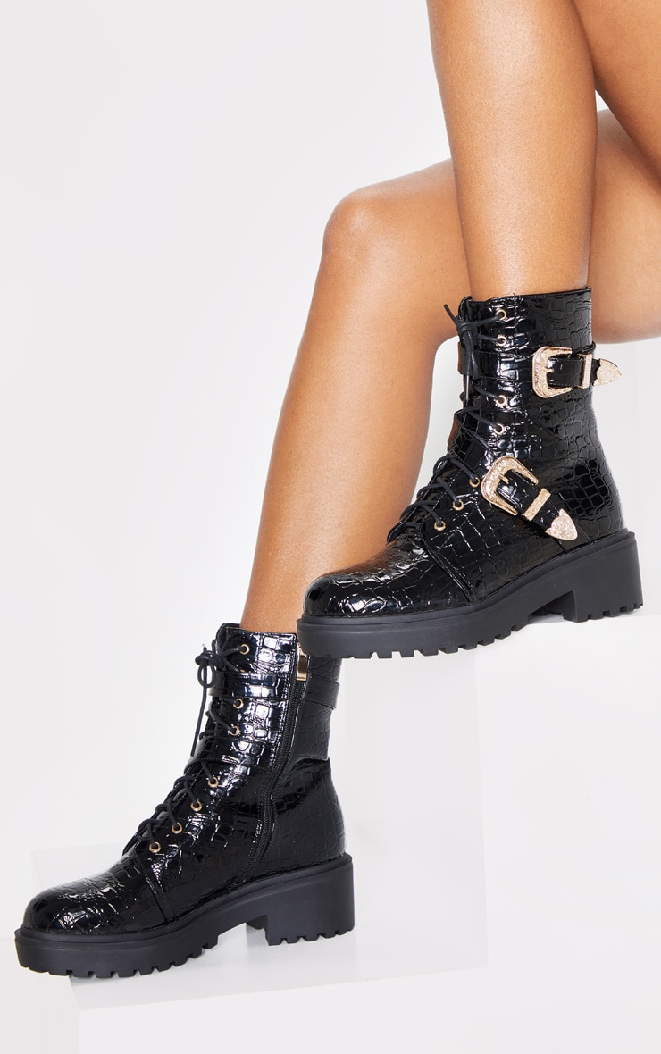 Black Patent Croc Western Buckle Cleated Boot 1