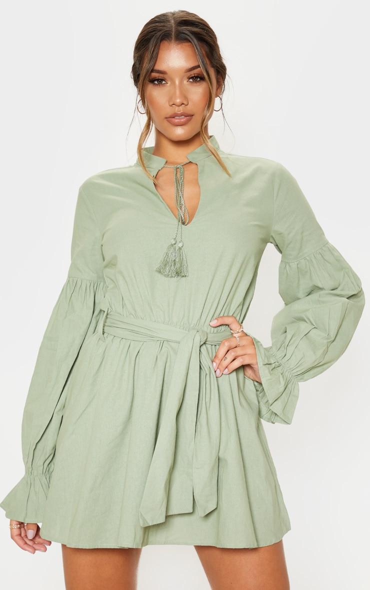 Sage Green Balloon Sleeve Tie Skater Dress 1