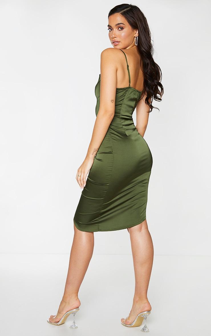 Khaki Satin Strappy Ruched Side Midi Dress 2