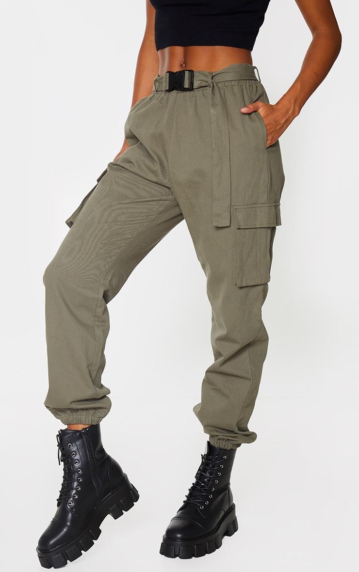Khaki Buckle Detail Cargo Trousers 2