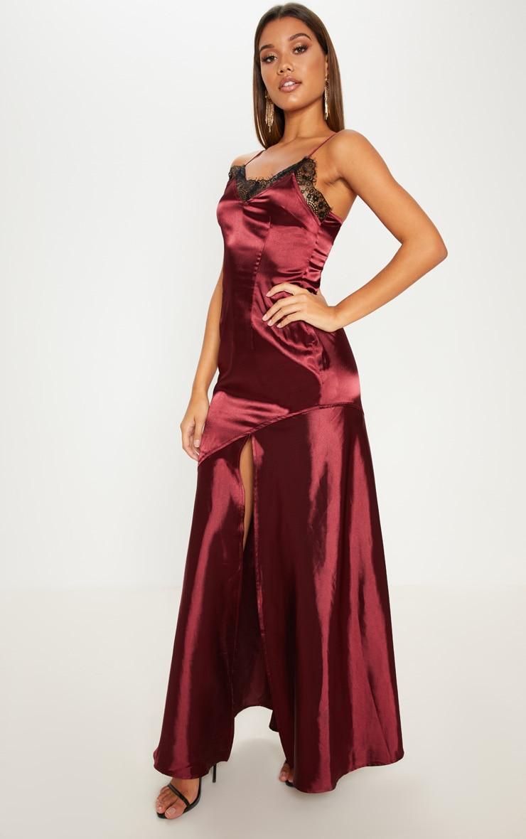 72f1a42c8777 Burgundy Satin Lace Trim Maxi Dress image 1