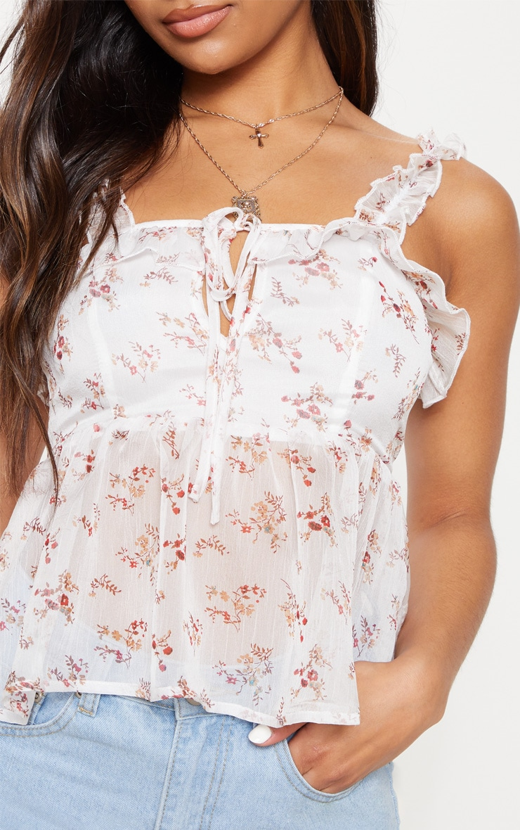 White Floral Chiffon Frill Detail Key Hole Cami Blouse  5