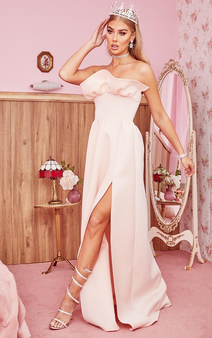 Nude Scuba Frill Bust Bandeau Maxi Dress 3