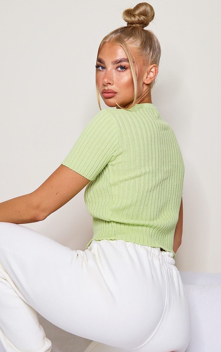 Lime Button Up Short Sleeve Knitted Cardigan 2