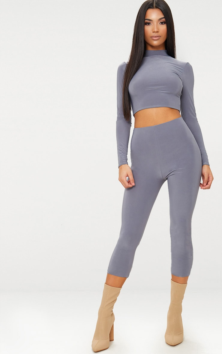 Charcoal Grey Slinky Cropped Leggings
