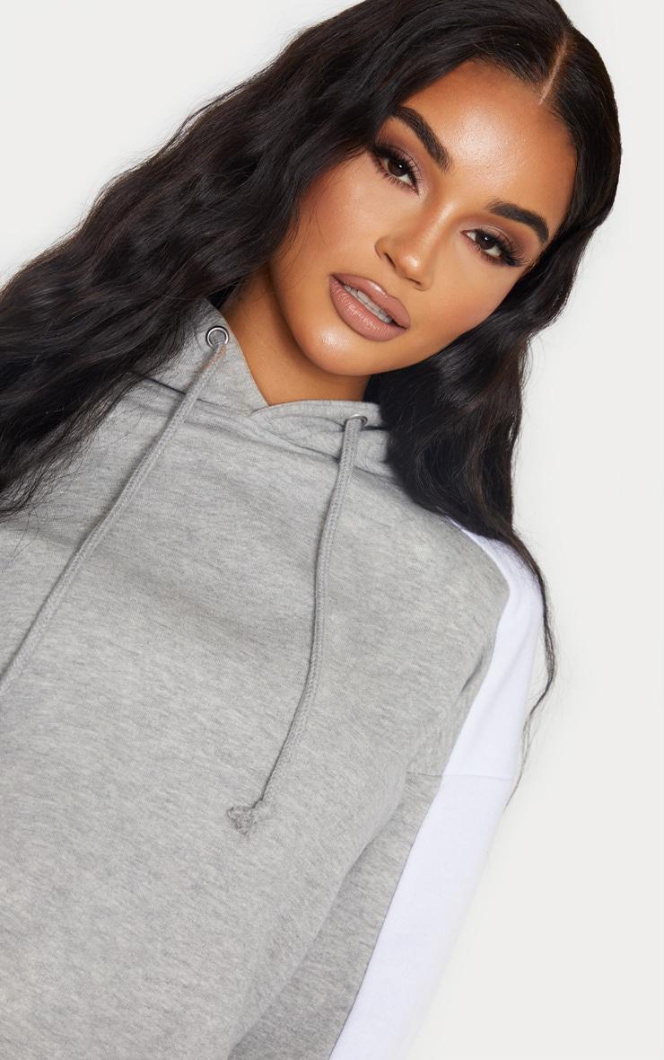 Grey Contrast Side Stripe Hoodie 5