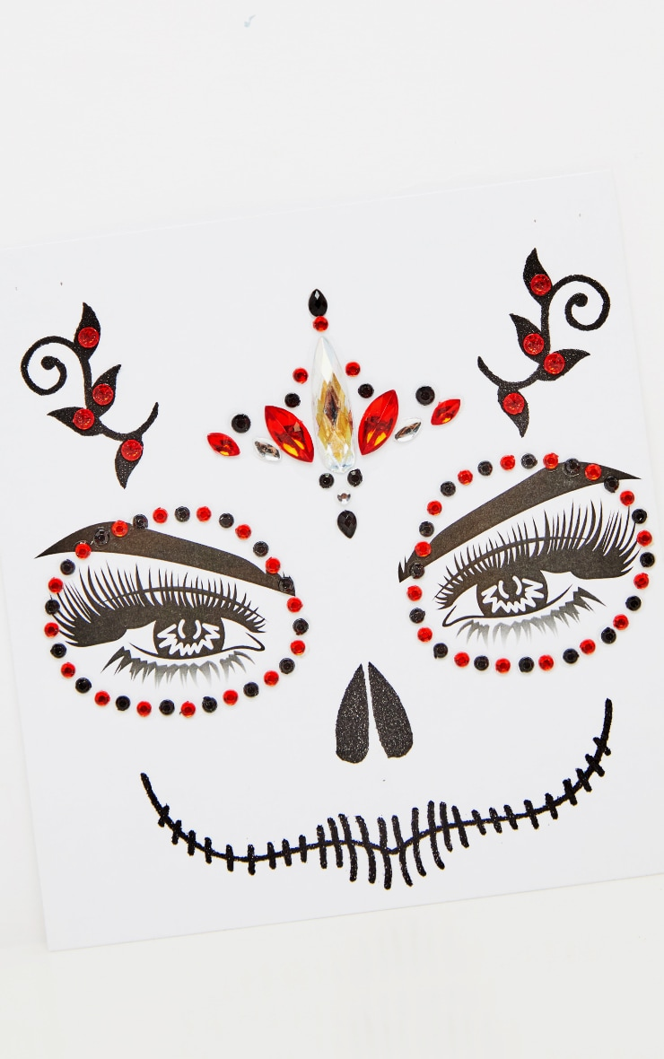 PRETTYLITTLETHING Red Skull Queen Face Jewels 3
