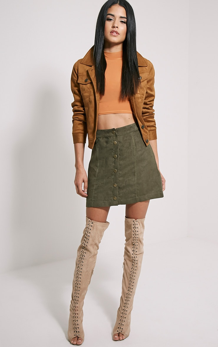 Saylor Rust Sleeveless Slinky Crop Top 3