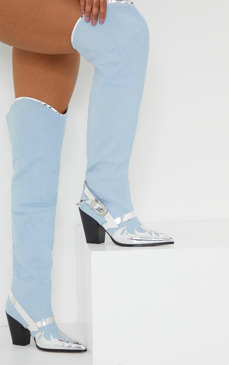Denim Silver Flame Thigh High Western Boots 2